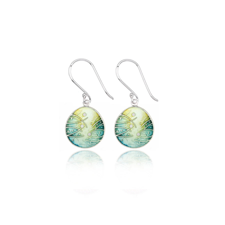 Meadow Enamelled Ochre & Teal Earrings
