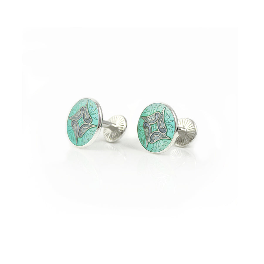 Enamelled Birds In Tree Mint Cufflinks