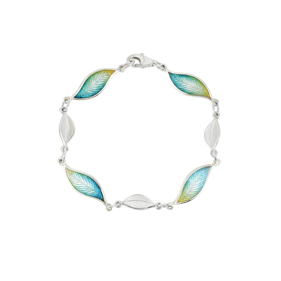Enamelled Frosted Leaf Bracelet