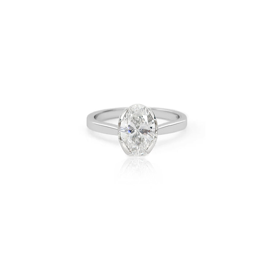 Oval Diamond Solitaire Platinum Ring