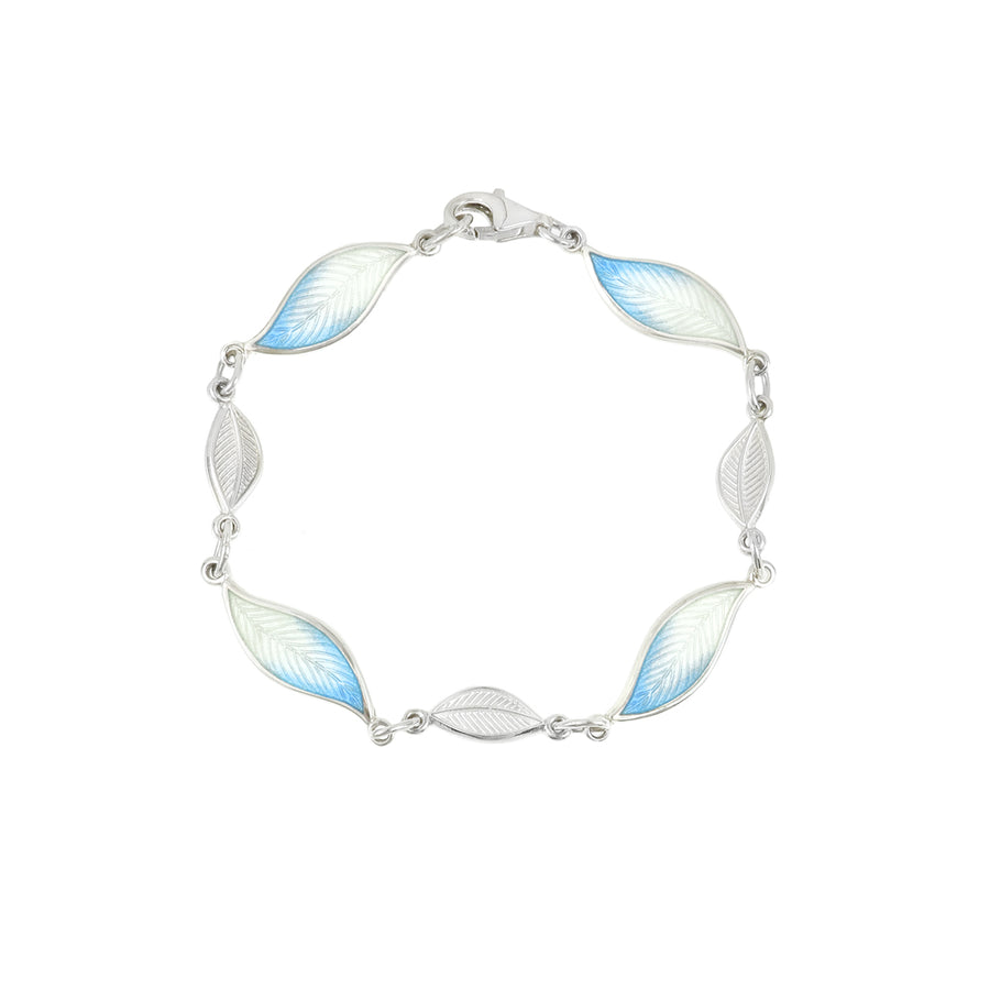 Enamelled Pale Blue Leaf Bracelet