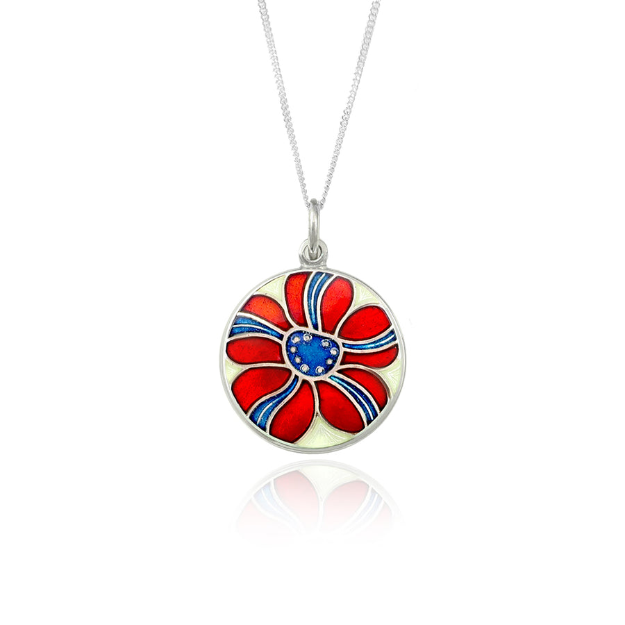 Enamelled Red & Blue Stripe Flower Pendant
