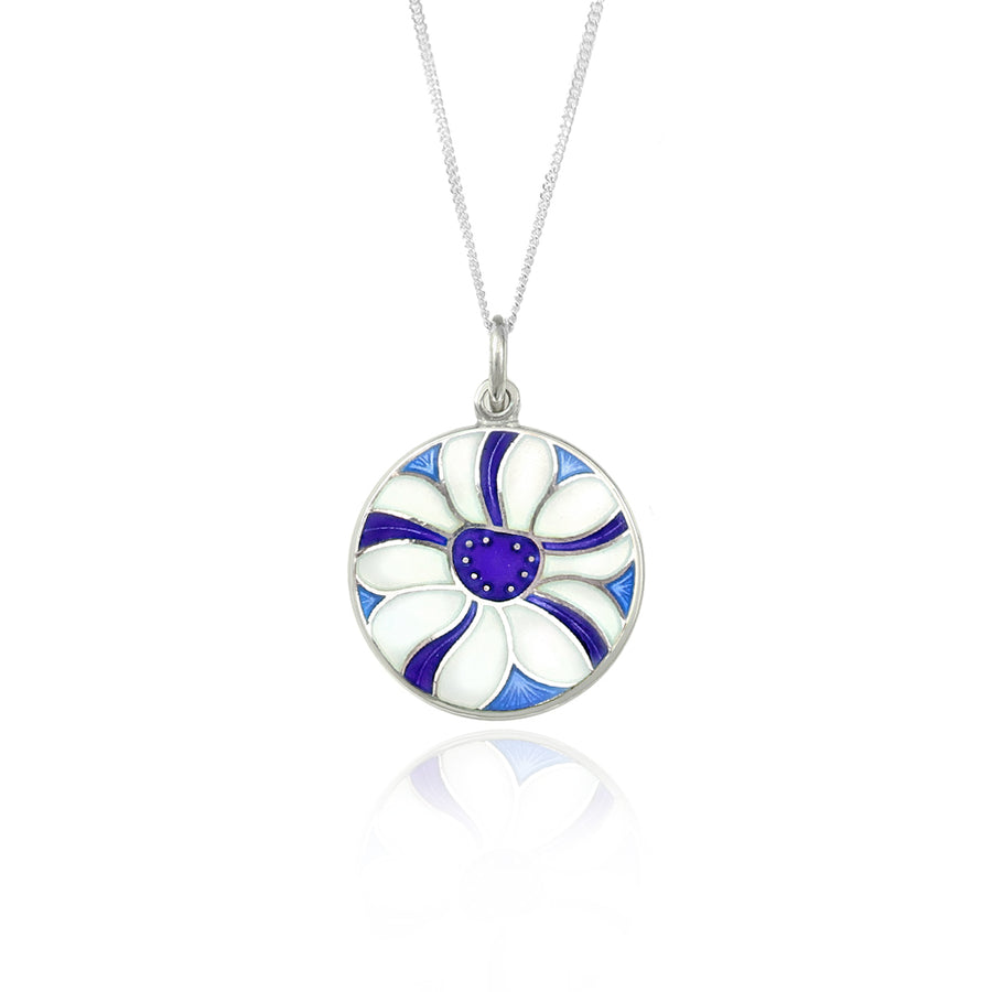 Enamelled White & Purple Stripe Flower Pendant