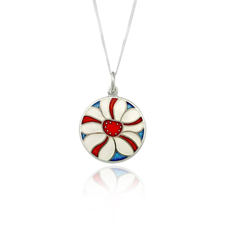 Enamelled White & Red Stripe Flower Pendant