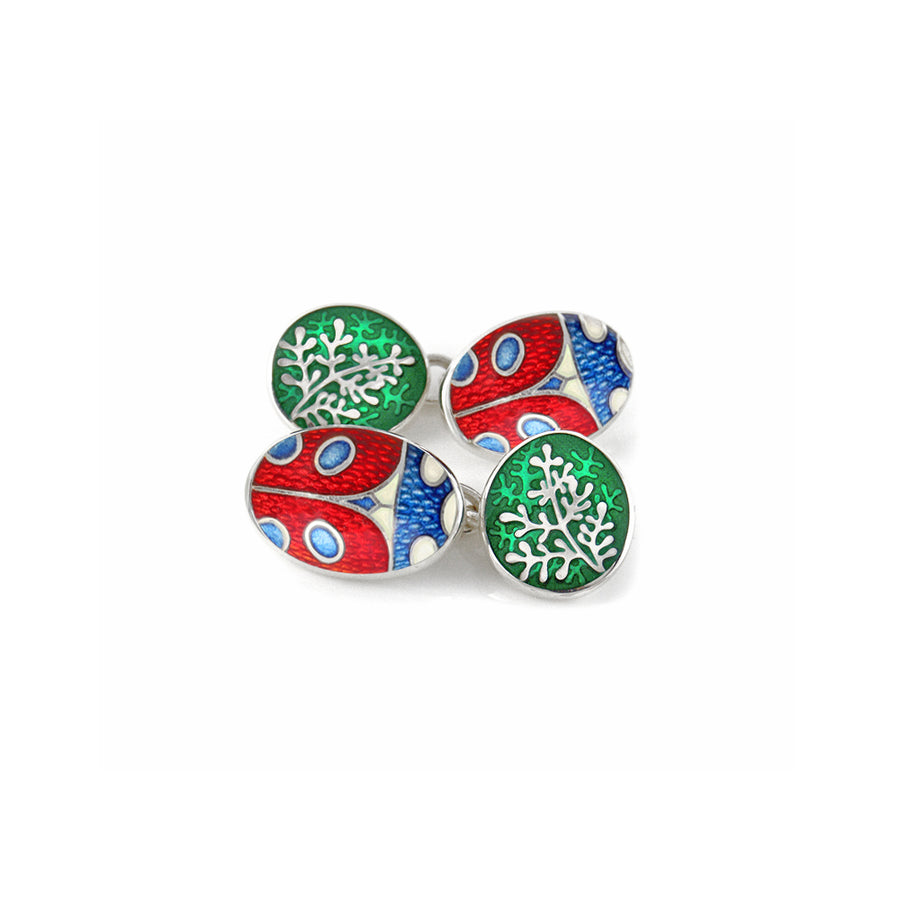 Ladybird & Rue Enamelled Chain Cufflinks