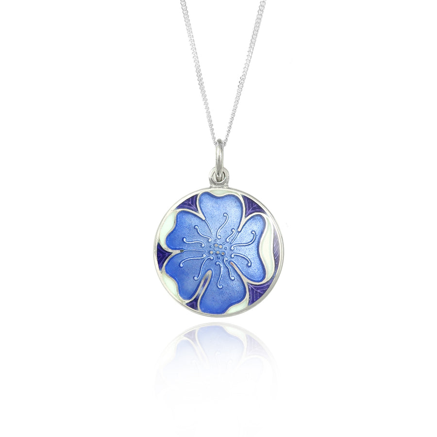 Enamelled Pale Blue Pansy Flower Pendant