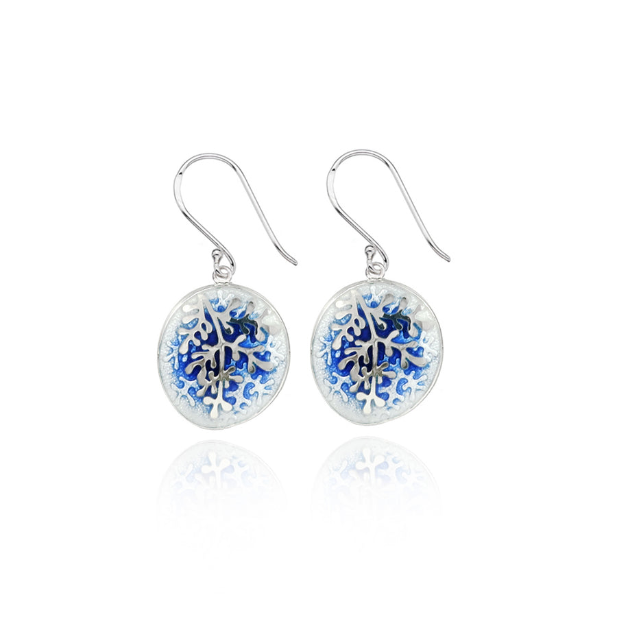 Enamel Graduated Blue Rue Earrings