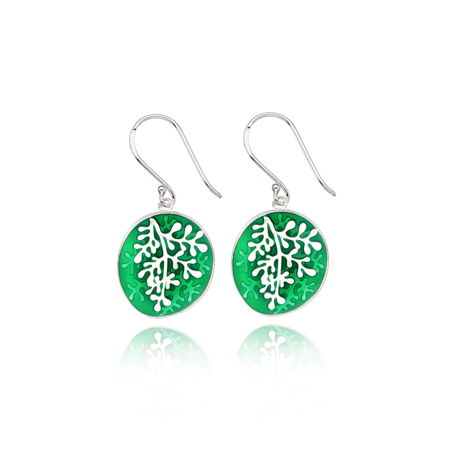 Enamel Rue Green Earrings