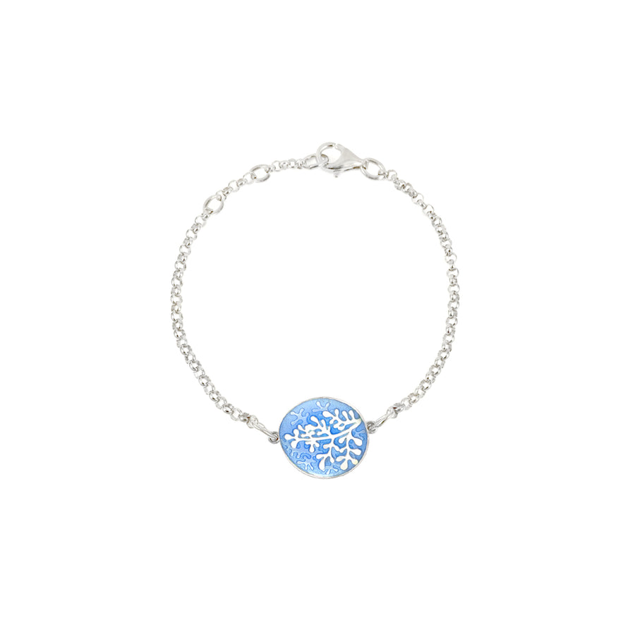 Enamelled Pale Blue Rue Bracelet