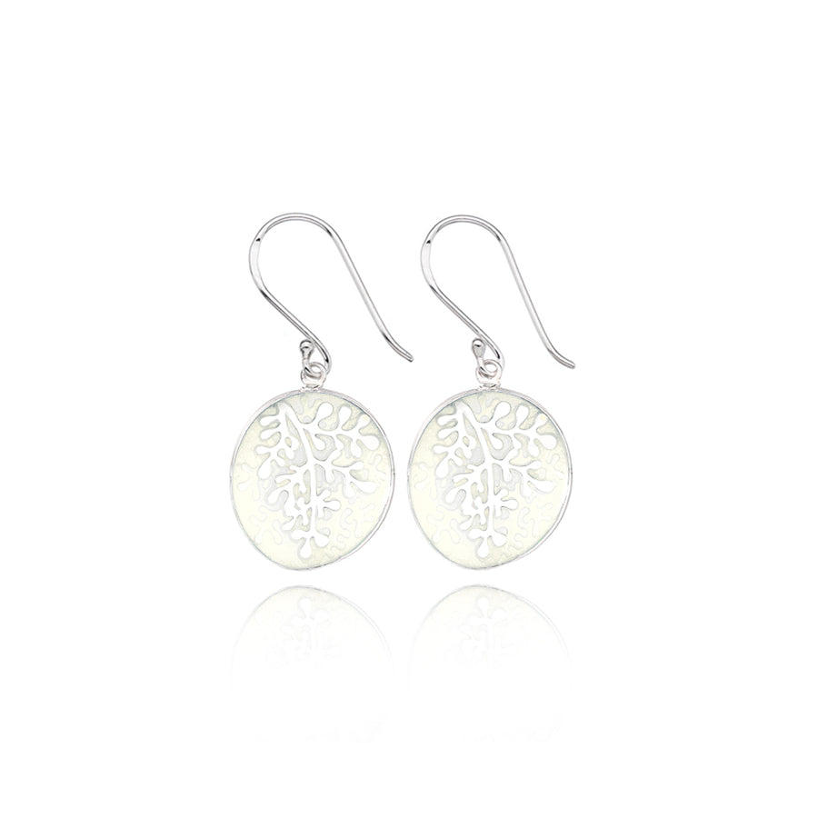 Enamel Rue White Earrings