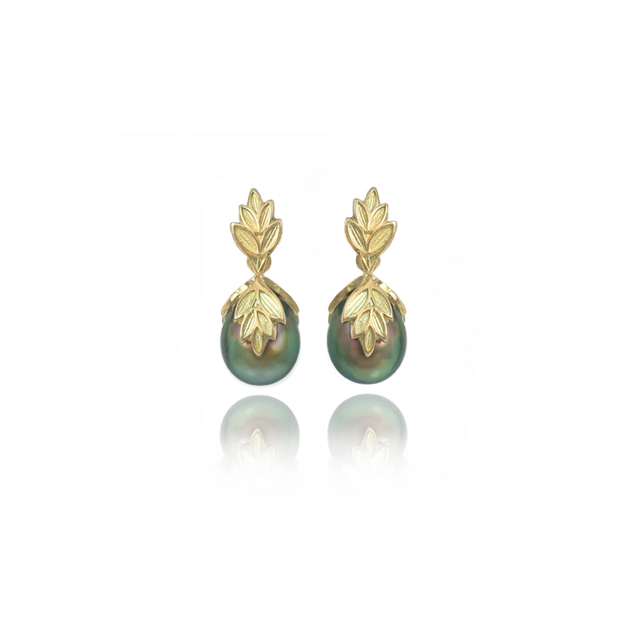 Pistachio South Sea Pearl Gold Earrings