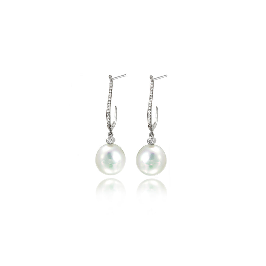 Pearl & Diamond Platinum Earrings