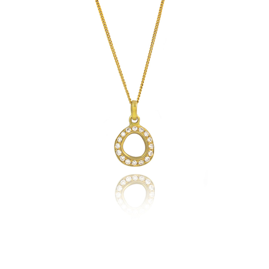 Diamond Suiseki Gold Pendant