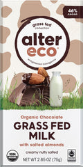 Alter Eco - Grass Fed Milk Chocolate Bar - w/Salted Almonds 46% Cacao