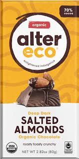 Alter Eco - Dark Chocolate, Salted Almonds, 70% Cacao