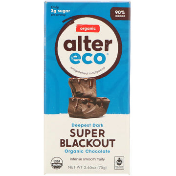 Alter Eco - SuperDark Chocolate, Super Blackout, 90% Cacao, Organic