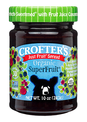 Crofter's - Superfruit Spread, (Acai Berries, Morello Cherries, Pomegranates & Red Grapes), Fruit Juice Sweetened