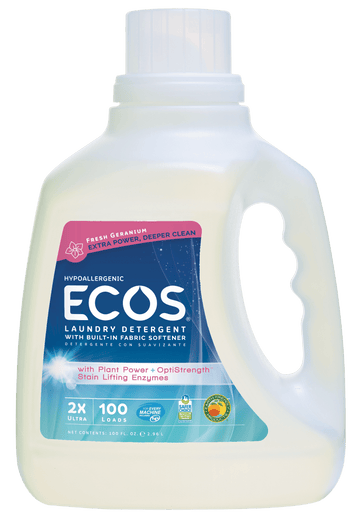 Ecos Earth Friendly - Laundry Liquid w/Built-in Fabric Softener, 2X Ultra, Hypoallergenic, Fresh Geranium, HE