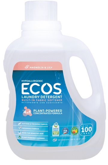 Ecos Earth Friendly - Laundry Liquid w/Built-in Fabric Softener, 2X Ultra, Hypoallergenic, Magnolia & Lily, HE