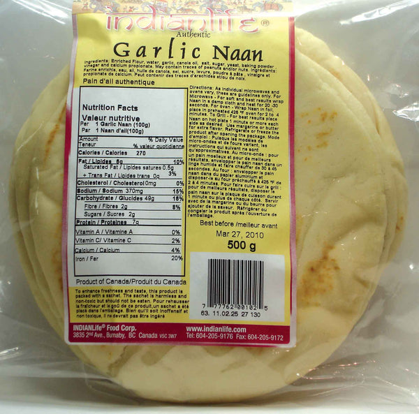 "IndianLife - Naan, Garlic (11"")"