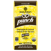 Zazubean - Punch, Coconut Milk Chocolate w/Coconut Sugar, 55% Cacao, Pineapple & Coconut
