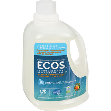 Ecos Earth Friendly - Laundry Liquid w/Built-in Fabric Softener, 2X Ultra, Hypoallergenic, Free & Clear, HE, Large