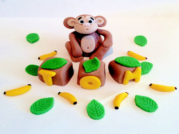 Monkey name set cake topper decoration