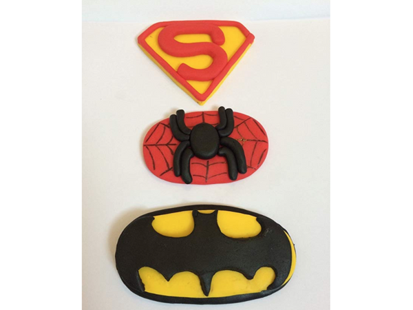 Edible superhero cake toppers