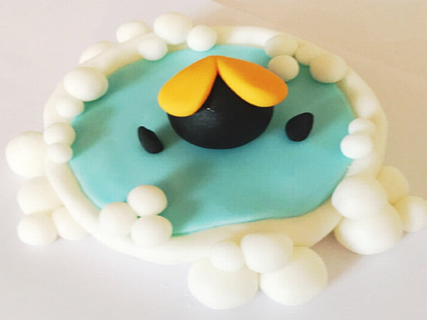 Edible penguin in pond cake topper decoration