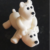 Edible polar bears on back Christmas cake topper decoration