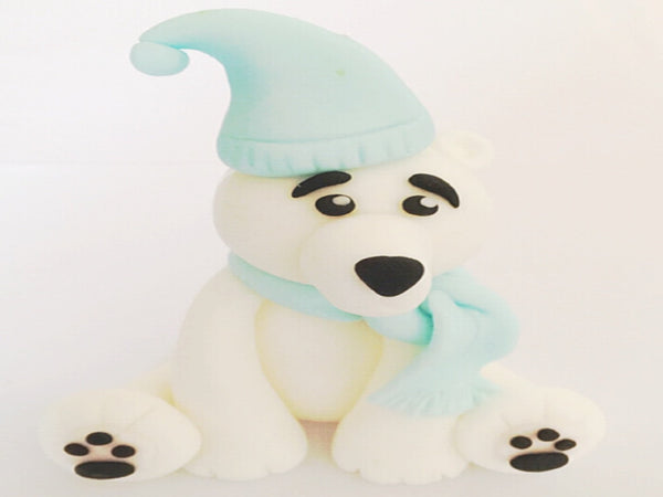 Edible Christmas polar bear cake topper