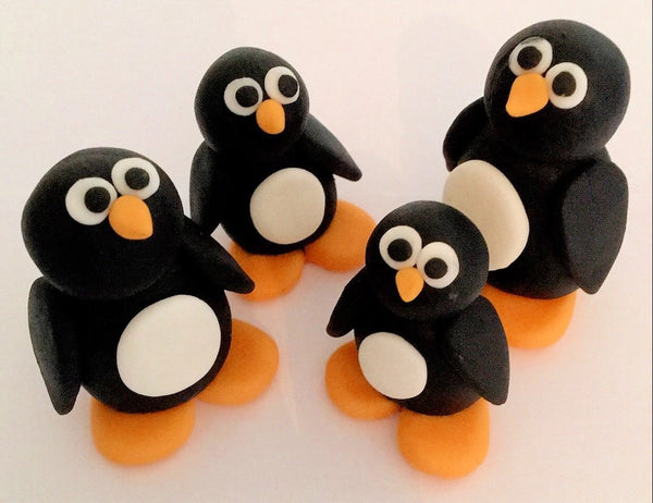 Edible penguins x4 cake topper