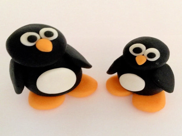 Christmas penguins cake topper x2