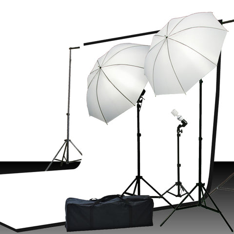 Continuous Photography Video Studio Digital Lighting Kit 3 Point Lighting Kit with Muslin Support Stands by ePhotoInc H103
