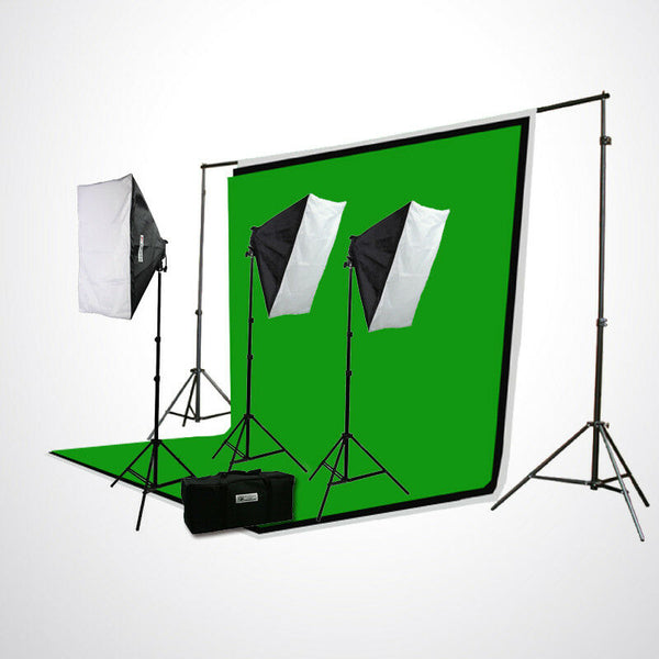 2400W VIDEO PHOTOGRAPHY STUDIO 3 SOFTBOX CHROMAKEY BACKGROUND STAND LIGHTING KIT