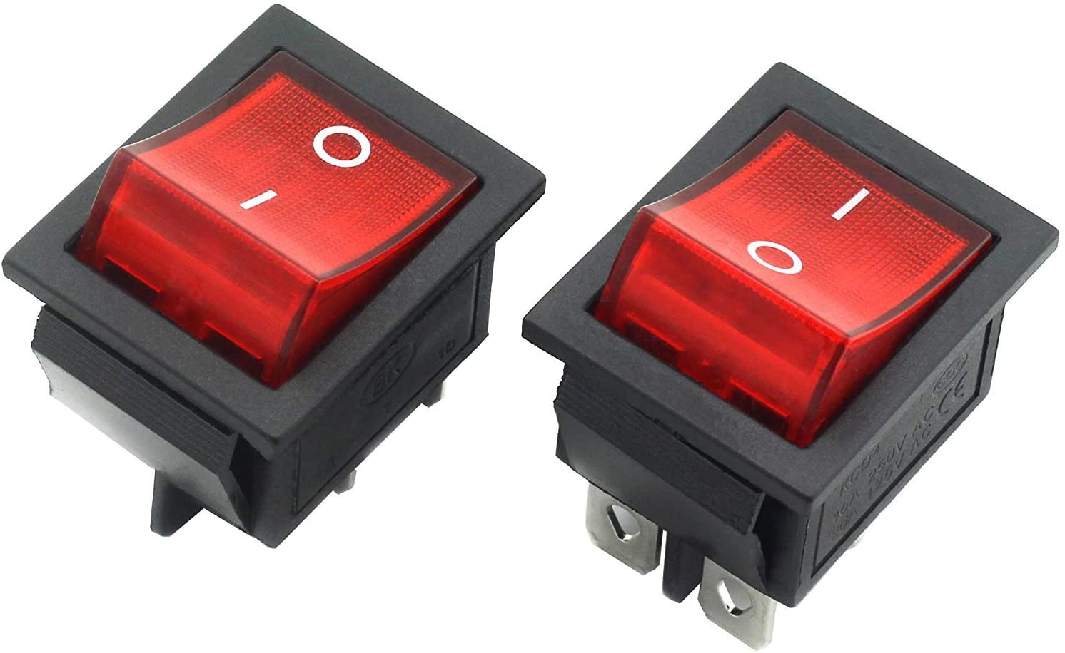 2-Pack Rocker Power Switch 16A 4 Pin 2 Position ON/Off Power Switch Red Button with Light
