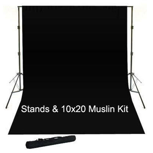 10x20 BLK Muslin Photography Studio Video Support Kit