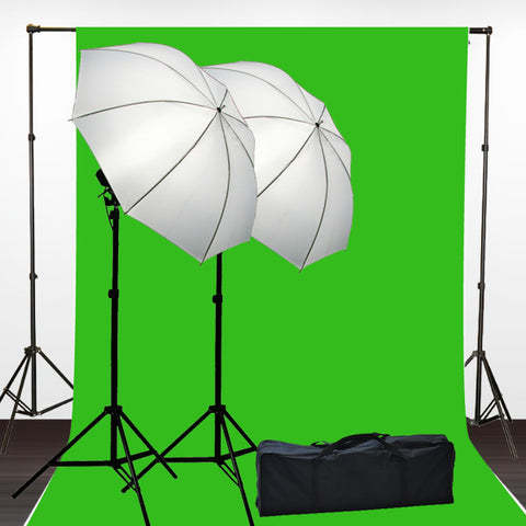 10 x 12 ChromaKey Green Screen Digital Photography Studio Video Lighting Kit with Background Stand and Case Kit by ePhotoInc H15-1012G
