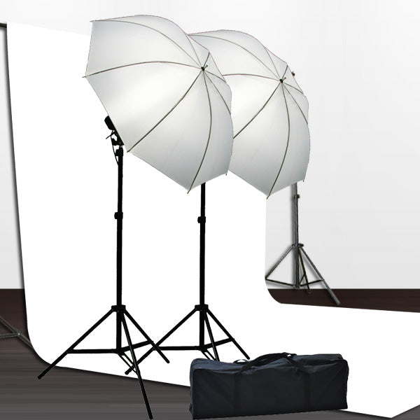 10x12 White Muslin Background Stand Lighting Kit
