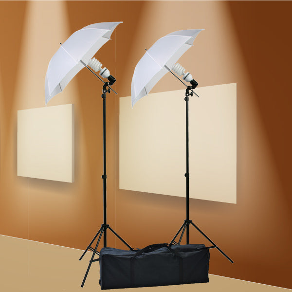 800 Watt Photography Studio Umbrella Cool Fluorescent Continuous Lighting Kit Set- 2 Light Stands & 2 Bulbs & 2 light holders & 2 umbrellas by ePhoto INC DK105