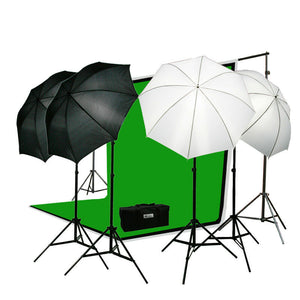 Photography Studio Video Lighting Kit 3 Chromakey Muslins Background Stands Case