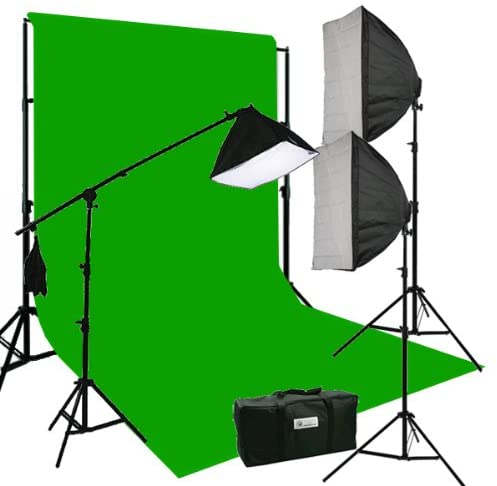 Three Softbox 2700 Watt Photography Video Hair Boom Light Lighting Kit Chromakey Green Muslin Background Support Stand Case Kit