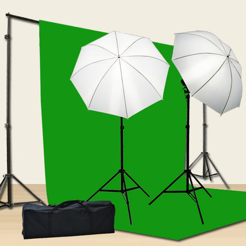 PHOTO STUDIO PORTRAIT COMPLETE LIGHTING KIT WITH 6x9' CHROMAKEY BACKDROP AND COMPACT SUPPORT SYSTEM T69GB