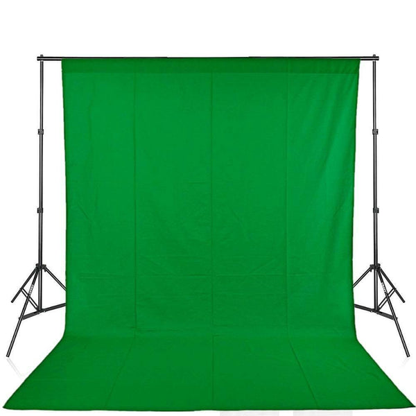 10' X 12' Video Photography Studio Chroma Key Chromakey Green Screen Cotton Muslin Backdrop Seamless and Background Supporting System Kit with Carrying Case