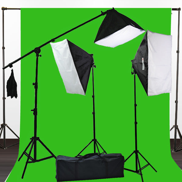 10 X 20 Large Chromakey Chroma Key Green Screen Support Stands 3 Point Continuous Video Photography Lighting Kit H9004SB-1020G
