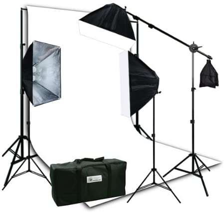 H9004SB2-1012W Photo Video Studio Boom Stand Lighting Kit with Complete 10 x 12 White Background Stand Kit