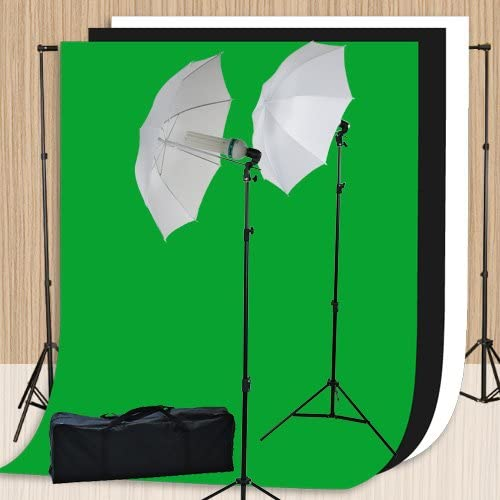 Photography Video Studio Lighting Kit with 3pcs 10ft x 10ft Chromakey Black, White and Green Muslins Backdrops and Background Support System