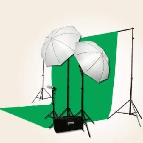 3 Point Chromakey Green Screen Video Lighting Kit 10 x 12ft Green Chromakey Backdrop Screen Studio Light Kit