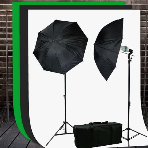 Video Studio Lighting Kit with Background Support Stands 3pcs 10'x10' Chromakey Green Screen, Black, White and Case