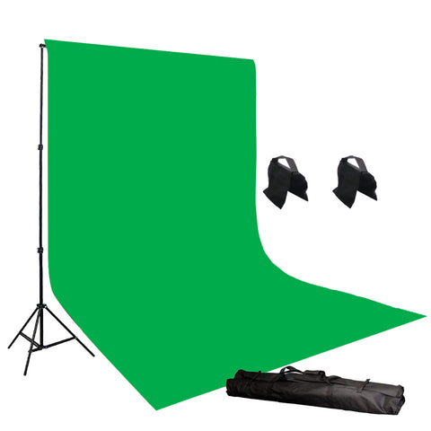 6' x 9' Chroma Key Green Screen Photography Video Chromakey Backdrop Background Stands & 2 sandbags H804-69G2S